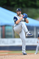 Columbia Fireflies starting pitcher Thomas Szapucki (24) delivers a pitch during a game against the Asheville Tourists at McCormick Field on June 23, 2019 in Asheville, North Carolina. The Fireflies defeated the Tourists 11-9. (Tony Farlow/Four Seam Images)