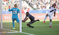CARSON, CA - SEPTEMBER 29: Doneil Henry #2 of the Vancouver White Caps scores a goal during a game between Vancouver Whitecaps and Los Angeles Galaxy at Dignity Health Sports Park on September 29, 2019 in Carson, California.