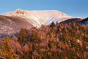 Mount Lafayette at sunset from Eagle Cliff in Franconia Notch State Park of the New Hampshire White Mountains during the winter months.