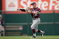 Texas A&M Aggies second baseman Scott Arthur #14 throws the ball to first during the NCAA baseball game against the Texas Longhorns on April 28, 2012 at UFCU Disch-Falk Field in Austin, Texas. The Aggies beat the Longhorns 12-4. (Andrew Woolley / Four Seam Images).