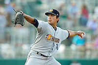 Charleston RiverDogs starting pitcher Daniel Camarena (16) in action against the Greensboro Grasshoppers at NewBridge Bank Park on July 17, 2013 in Greensboro, North Carolina.  The Grasshoppers defeated the RiverDogs 4-3.  (Brian Westerholt/Four Seam Images)