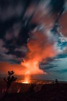Halema'uma'u Crater at night, seen from Kilauea Lookout near Jagger Museum, Hawai'i Volcanoes National Park, Hawai'i Island, September 2017.