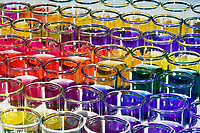 ARRAY OF pH INDICATORS<br /> 7 Indicators In Beakers With pH from 1-10<br /> Indicators (Top to Bottom) are Thymol blue, Bromophenol blue, Methyl red, Universal, Resazurin, Bromocresol purple & Phenolphthalein.   greatest hydrogen ion concentration & pH of 1
