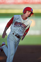 Clearwater Threshers center fielder Carlos Tocci (15) running the bases during a game against the Dunedin Blue Jays on April 8, 2016 at Bright House Field in Clearwater, Florida.  Dunedin defeated Clearwater 8-3.  (Mike Janes/Four Seam Images)