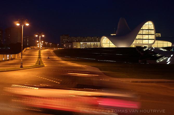Heydar Aliyev Central Cultural, designed by Iraqi-British architect Zaha Hadid, is seen in Baku, Azerbaijan.