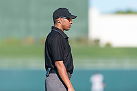 Field umpire Jeremie Rehak during an Arizona Fall League game between the Surprise Saguaros and the Peoria Javelinas at Surprise Stadium on October 17, 2018 in Surprise, Arizona. (Zachary Lucy/Four Seam Images)