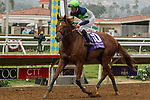 """DEL MAR, CA. AUGUST 26:#10 Giant Expectations ridden by Gary Stevens, return to the connections after winning the  Pat O'Brien Stakes (Grade ll), Breeders' Cup """"Win and You're in Dirt Mile Division"""" on August 26, 2017, at Del Mar Thoroughbred Club in Del Mar, CA.(Photo by Casey Phillips/Eclipse Sportswire/Getty )"""