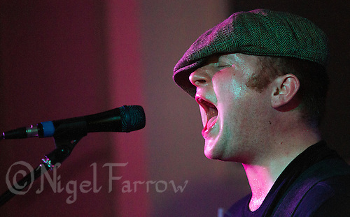08 APR 2016 - STOWMARKET, GBR - Ben Brown on vocals and lead guitar for Superglu during a recording for BBC Introducing at the John Peel Centre for Creative Arts in Stowmarket, Suffolk, Great Britain (PHOTO COPYRIGHT © 2016 NIGEL FARROW, ALL RIGHTS RESERVED)