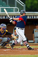 Kyle Martin #34 (South Carolina) of the High Point-Thomasville HiToms follows through on his swing against the Wilson Tobs at Finch Field on June 17, 2013 in Thomasville, North Carolina.  The Tobs defeated the HiToms 3-2 in 11 innings.  Brian Westerholt/Four Seam Images