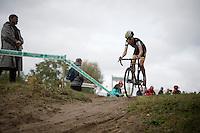Nicolas Cleppe (BEL/Telenet-Fidea) making some air <br /> <br /> U23<br /> Superprestige Zonhoven 2015