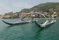 """- The Proteus is a new type of boat based on """"Wave Adaptive Modular Vessel"""" (WAM-V) design. Unlike conventional boats, the hull of a WAM-V conforms to the surface of the water. The Marine Advanced Research Company who is currently developing the WAM-V explains that its new design does not push, slap or pierce the waves but rather utilizes flexibility to adapt its structure and shape to the water surface. Instead of forcing the water to conform to the hull, the hull adjusts itself to the sea. ....The Proteus prototype is a 100-foot long catamaran with a displacement of 24,000 pound at full load. It is equipped with two 355 hp diesel engines and has a range of over 5000 miles and a top speed of 70 mph.    ....The Proteus will be used to test the WAM-V concept which can have various applications ranging from recreation (cruise ship, extreme water sport etc.), research (monitor of marine resources) and military (search and rescue , special operations and a base for small unmanned aicrafts....- Il Proteus è un nuovo tipo di imbarcazione basato sul concetto di """"natante modulare adattabile all'onda """" (WAM-V). Diversamente delle barche convenzionali, lo scafo di un WAM-si adatta alla superficie dell'acqua. ..La società Marine Advanced Research Company, che attualmente sta sviluppando il WAM-V spiega che il nuovo disegno non spinge, non schiaffeggia o non perfora le onde ma piuttosto utilizza la flessibilità per adattare la struttura alla superficie dell'acqua. Invece di costringere l'acqua ad adattarsi  allo scafo, lo scafo si adatta al mare. Il prototipo del Proteus è un catamarano lungo 30 metri, con dislocamento  di 12 tonnellate a pieno carico. È dotato di due motori diesel  da 355 Hp, autonomia di oltre di 8000 Km e di velocità superiore a 112 km/ora ...Il Proteus sarà usato per verificare il concetto di WAM-V, che può avere varie applicazioni: diporto (nave di crociera, sport estremi dell'acqua, ecc.), ricerca (monitoraggio delle risorse marine) e militari (ricerca e"""