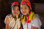 Padaung (Kayan) women with brass coil neck rings, Myanmar