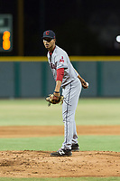 AZL Indians 2 starting pitcher Carlos Vargas (64) looks in for the sign during an Arizona League game against the AZL Cubs 2 at Sloan Park on August 2, 2018 in Mesa, Arizona. The AZL Indians 2 defeated the AZL Cubs 2 by a score of 9-8. (Zachary Lucy/Four Seam Images)