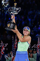 January 1, 2020: 14th seed SOFIA KENIN (USA) lifts the trophy after defeating GARBIÑE MUGURUZA (ESP) on Rod Laver Arena in the Women's Singles Final match on day 13 of the Australian Open 2020 in Melbourne, Australia. Photo Sydney Low. Kenin won 46 62 62