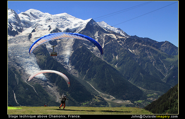 France, Chamonix.  Stage Technique.<br /> I made a nice composition and waited for the paragliders and cable car to pass through the frame. This ensures I'll include both Mt Blanc and Chamonix below.