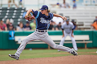Corpus Christi Hooks pitcher Josh Hader (17) delivers a pitch to the plate during the Texas League baseball game against the San Antonio Missions on May 10, 2015 at Nelson Wolff Stadium in San Antonio, Texas. The Missions defeated the Hooks 6-5. (Andrew Woolley/Four Seam Images)