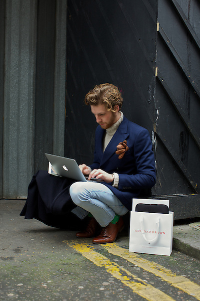 Dan Kennedy working during Fashion Week