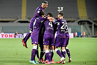 Nicolas Gonzalez of ACF Fiorentina celebrates with team mates after scoring the goal of 2-0 during the Italy cup football match between ACF Fiorentina and Cosenza calcio at Artemio Franchi stadium in Florence (Italy), August 13th, 2021. Photo Andrea Staccioli / Insidefoto