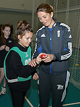 Members of the Girls Cricket club get a lesson in bowling from England Womans Captain Charlotte Edwards..Cowbridge Comprehensive School Girls Cricket Club with England Womans Captain Charlotte Edwards and Heather Knight - 16th April 2013 - Cricket Wales -  Cowbridge - Vale of Glamorgan..© www.sportingwales.com- PLEASE CREDIT IAN COOK