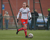 Sheryl Merchiers (11) of Zulte-Waregem  pictured during a female soccer game between SV Zulte - Waregem and Club Brugge YLA on the 13 th matchday of the 2020 - 2021 season of Belgian Scooore Womens Super League , saturday 6 th of February 2021  in Zulte , Belgium . PHOTO SPORTPIX.BE   SPP   DIRK VUYLSTEKE