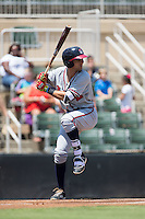 Alejandro Salazar (7) of the Rome Braves at bat against the Kannapolis Intimidators at Kannapolis Intimidators Stadium on June 29, 2016 in Kannapolis, North Carolina.  The Braves defeated the Intimidators 4-0.  (Brian Westerholt/Four Seam Images)