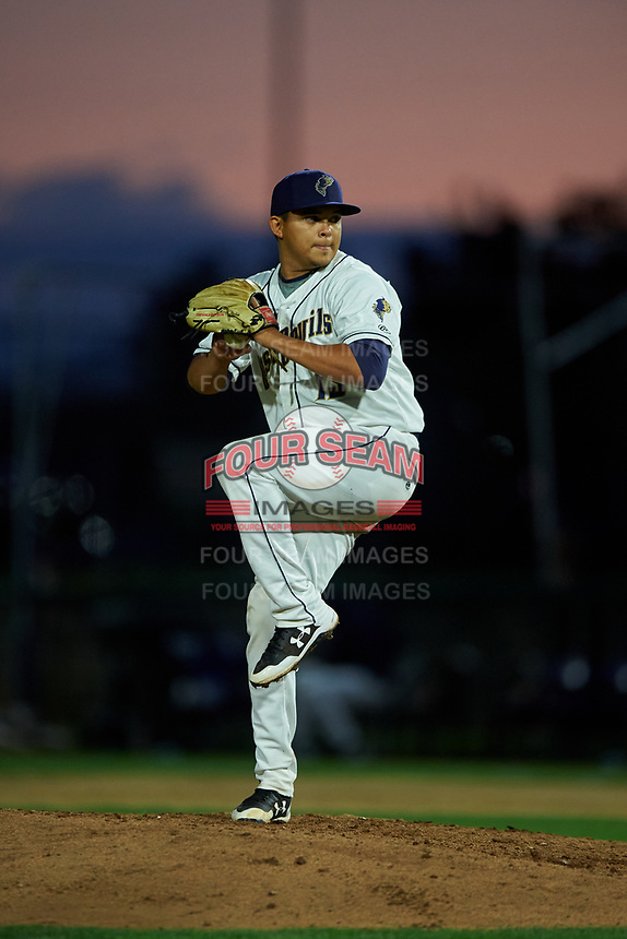 Tri-City Dust Devils starting pitcher Gabriel Morales (13) delivers a pitch during a Northwest League game against the Vancouver Canadians at Gesa Stadium on August 21, 2019 in Pasco, Washington. Vancouver defeated Tri-City 1-0. (Zachary Lucy/Four Seam Images)