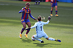 Liga IBERDROLA 2020-2021. Jornada: 18.<br /> FC Barcelona vs R. Madrid: 4-1.<br /> Asisat Oshoala vs Misa Rodriguez.