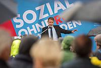 """AfD-Kundgebung in Potsdam.<br /> Ca. 70 AfD-Anhaenger kamen am Samstag den 9. September 2017 zu einer Wahlveranstaltung der rechtsnationalistischen """"Alternative fuer Deutschland"""", AfD. Unter den Teilnehmern waren u.a. Neonazis die """"Patrioten Cottbus"""" oder die sog. """"Schwarze Sonne"""", ein Zeichen der SS auf ihren Jacken trugen. Offiziell hatte die AfD die Kundgebung als Gruendung einer rechten Gewerkschaft namens """"Alternativer Arbeitnehmerverband Mitteldeutschland"""" (Alarm) in Brandenburg deklariert.<br /> 500 Menschen protestierten friedlich gegen die Veranstaltung.<br /> Im Bild: Bjoern Hoecke, AfD-Fraktionsvorsitzender im Thueringer Landtag.<br /> 9.9.2017, Potsdam<br /> Copyright: Christian-Ditsch.de<br /> [Inhaltsveraendernde Manipulation des Fotos nur nach ausdruecklicher Genehmigung des Fotografen. Vereinbarungen ueber Abtretung von Persoenlichkeitsrechten/Model Release der abgebildeten Person/Personen liegen nicht vor. NO MODEL RELEASE! Nur fuer Redaktionelle Zwecke. Don't publish without copyright Christian-Ditsch.de, Veroeffentlichung nur mit Fotografennennung, sowie gegen Honorar, MwSt. und Beleg. Konto: I N G - D i B a, IBAN DE58500105175400192269, BIC INGDDEFFXXX, Kontakt: post@christian-ditsch.de<br /> Bei der Bearbeitung der Dateiinformationen darf die Urheberkennzeichnung in den EXIF- und  IPTC-Daten nicht entfernt werden, diese sind in digitalen Medien nach §95c UrhG rechtlich geschuetzt. Der Urhebervermerk wird gemaess §13 UrhG verlangt.]"""