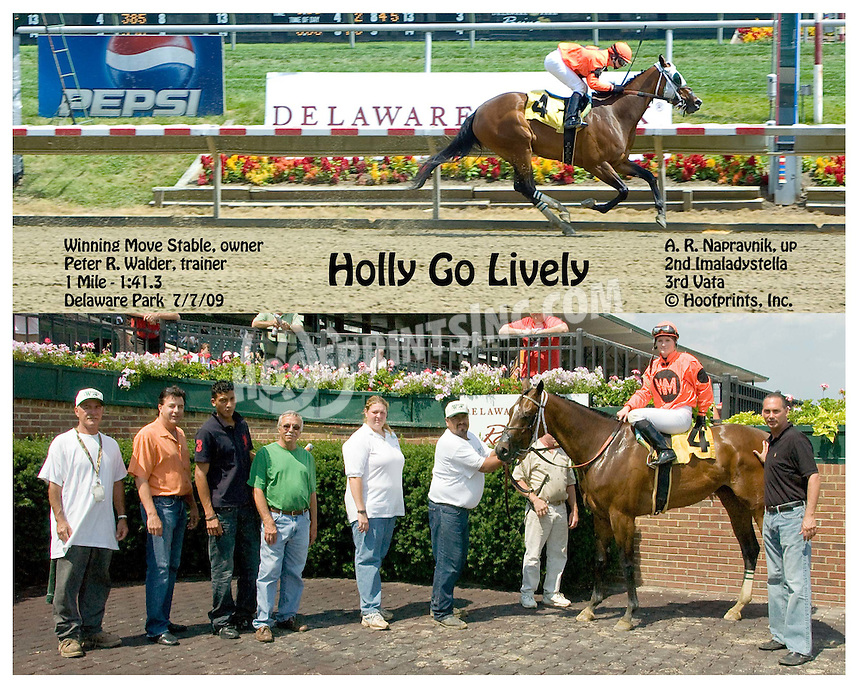 Holly Go Lively winning at Delaware Park on 7/7/09
