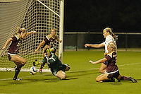 SAN ANTONIO, TX - AUGUST 16, 2015: The Texas State University Bobcats defeat the University of Texas at San Antonio Roadrunners 1-0 in an exhibition soccer match at the UTSA Park West Athletics Complex. (Photo by Jeff Huehn)