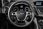 Steering wheel view of a 2011 Ford Grand C-Max Titanium Mini MPV