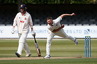 Brydon Carse in bowling action for Durham during Essex CCC vs Durham CCC, LV Insurance County Championship Group 1 Cricket at The Cloudfm County Ground on 16th April 2021