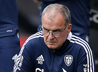 29th August 2021; Turf Moor, Burnley, Lancashire, England; Premier League football, Burnley versus Leeds United: Leeds United manager Marco Bielsa looks intently over his spectacles