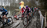 mud crashes are dirty, but mostly soft landings too... <br /> as Inge Vanderheijden (NED/777) demonstrates<br /> <br /> 2021 Flandriencross Hamme (BEL)<br /> women's race<br /> <br /> ©kramon