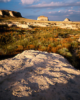 Sunset light on the Pawnee Buttes; Pawnee National Grassland, CO