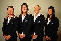 Australian Women's team, (from left) Stacey Keating, Jessica Speechley, Ebony Heard and Justine Lee.  Trans-Tasman NZ teams at Royal Wellington Golf Club, Wellington, New Zealand on Sunday, 28 March 2010. Photo: Dave Lintott / lintottphoto.co.nz