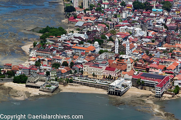 aerial photograph of Casco Viejo, San Felipe, the historic district of Panama City, Panama, among the buildings, the Ministry of Foreign Relations, right, and the Panama Metropolitan Cathedral, center aerial photograph of Casco Viejo, San Felipe, the historic district of Panama City, Panama | fotografía aérea del Casco Viejo, San Felipe, el distrito histórico de Panamá