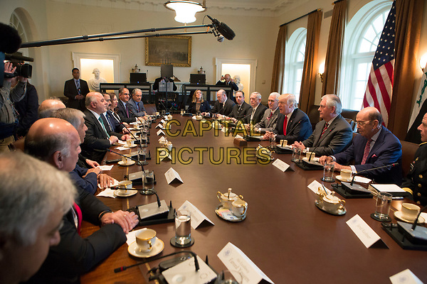 United States President Donald J. Trump speaks during a meeting with members of his Cabinet and Prime Minister Haider al-Abadi of Iraq at the White House in Washington DC  March 20, 2017. <br /> CAP/MPI/CNP/RS<br /> ©RS/CNP/MPI/Capital Pictures