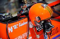 The helmet of Jeff Krischano, (#58) hangs from his mirror. (SST-60)