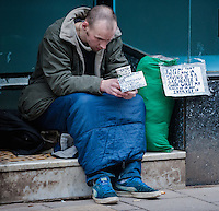 "Pictured: A homeless man begging in a door way in Aberystwyth, west Wales.<br /> Re: Wales is leading the way on tackling homelessness with ""more progressive"" legislation than anywhere in the UK, an expert has said.<br /> The comments come as an event to mark 50 years of work preventing homelessness is held in Cardiff.<br /> Last year, the law in Wales changed, putting a duty on councils to prevent people losing their homes.<br /> However Shelter Cymru said there was still a ""huge amount of work"" to do."