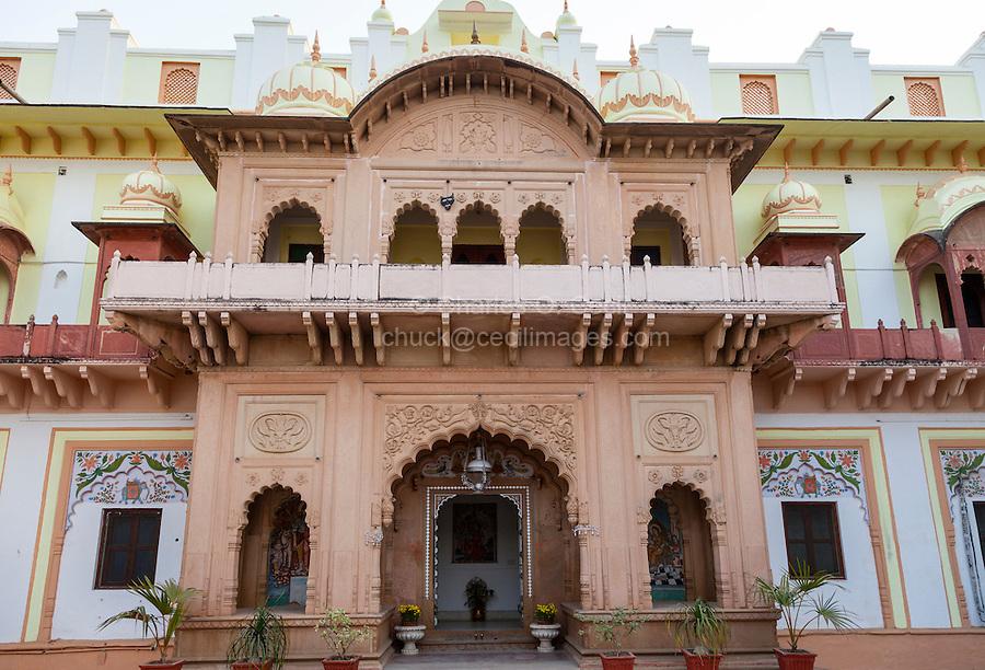 Bharatpur, Rajasthan, India.  Entrance to Rooms, Laxmi Vilas Palace, a Heritage Hotel.