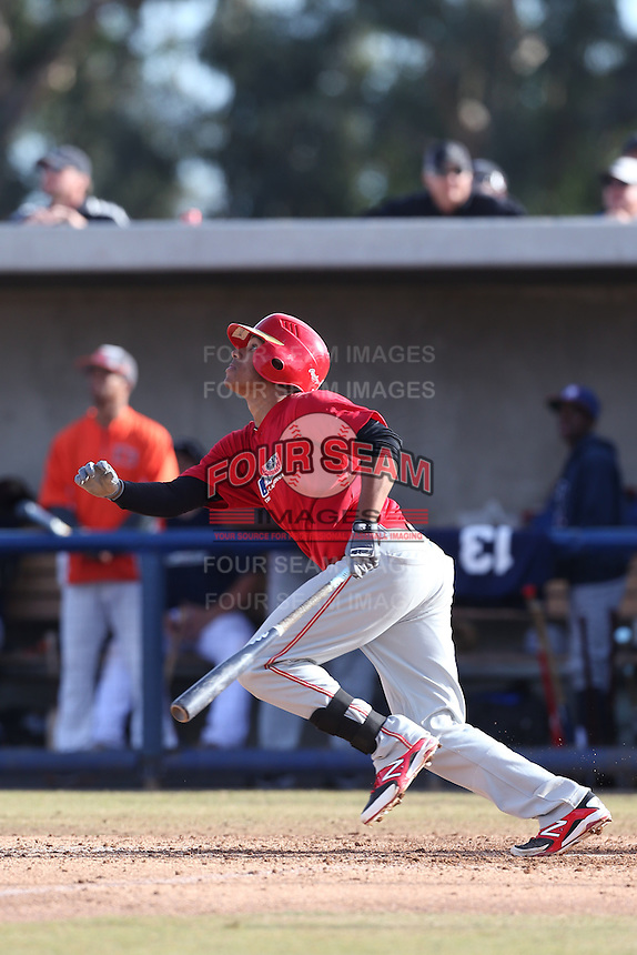 Joshua Morgan of Orange Lutheran High School in Orange, California during the MLBS Southern California Invitational Workout at the Urban Youth Academy on February 14, 2014 in Compton, California. (Larry Goren/Four Seam Images)