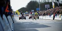 De Ronde van Vlaanderen 2012..Tom Boonen sprinting and holding off Filippo Pozzato, taking a 3rd Ronde win.
