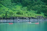 Sea kayakers, Harriman Fjord, Prince William Sound, Alaska.