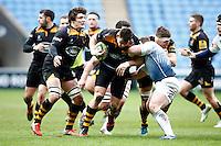 Photo: Richard Lane/Richard Lane Photography. Wasps v Cardiff Blues. LV= Cup. 01/02/2015. Wasps' Tom Lindsay attacks.