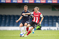 Matt Jay of Exeter City under pressure from Jason Demetriou, Southend United during Southend United vs Exeter City, Sky Bet EFL League 2 Football at Roots Hall on 10th October 2020