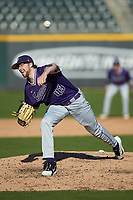Furman Paladins relief pitcher Hank Nichols (43) delivers a pitch to the plate against the Wake Forest Demon Deacons at BB&T BallPark on March 2, 2019 in Charlotte, North Carolina. The Demon Deacons defeated the Paladins 13-7. (Brian Westerholt/Four Seam Images)