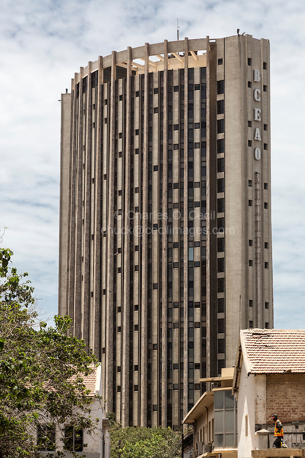 Dakar, Senegal.  BCEAO Headquarters, Banque Centrale des Etats de l'Afrique de l'Ouest, Central Bank of West African States.  This is the bank that administers the common currency used by eight West African nations, the French West African franc (franc CFA).  Dakar is the headquarters of the bank.