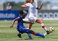 Bradenton, FL - Sunday, June 12, 2018: Melchie Dumonay, Jordyn Huitema prior to a U-17 Women's Championship 3rd place match between Canada and Haiti at IMG Academy. Canada defeated Haiti 2-1.