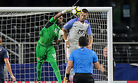 Arlington, TX - Saturday July 22, 2017: Patrick Pemberton and Clint Dempsey during a 2017 Gold Cup Semifinal match between the men's national teams of the United States (USA) and Costa Rica (CRC) at AT&T stadium.